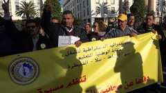 Shadows of journalists taking photos of political protest Rabat, Morocco Stock Footage