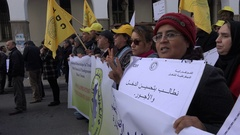 Peaceful political rally in downtown Rabat, capital city Morocco Stock Footage