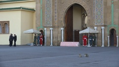 Soldiers stand guard at royal palace in Rabat, Morocco Stock Footage
