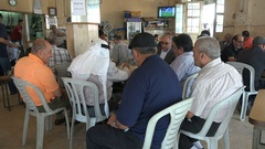 Palestinian men play cards in traditional tea house in Ramallah Stock Footage