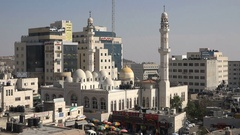Central mosque in downtown Ramallah, Palestinian Territories Stock Footage