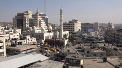 Skyline and central mosque in Ramallah, West Bank Stock Footage