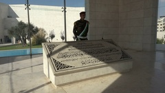 An honorary soldier stands guard at Arafat's tomb in Ramallah Stock Footage