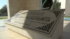 Closeup of the tomb of Yasser Arafat in Ramallah, Palestinian Territories Stock Footage