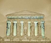 Antique greek temple of Concordia in the Valley of Temples, Agrigento, Sicily Stock Illustration