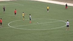 Palestinian boys play soccer (football) on a pitch in Ramallah Stock Footage