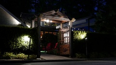 Night scene Teahouse restaurant at Stanley Park in Vancouver BC Canada. Stock Footage