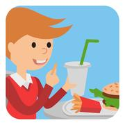 Boy eating fast food. Vector illustration of a child with fries Piirros