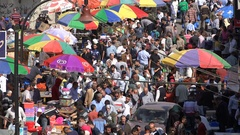 Busy market street in central Ramallah city, West Bank Stock Footage