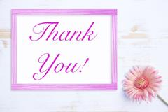 Pink flower with farme and words Thank You Stock Photos