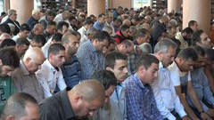 Mass Friday prayer in main mosque Ramallah, Palestinian Territories Stock Footage