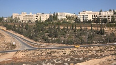Facade of the Bir Zeit university in Ramallah, education in the West Bank Stock Footage
