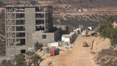 Construction site, property development in Ramallah in the West Bank Stock Footage