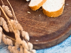 Sliced white bread on the kitchen cutting board Stock Footage