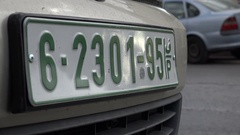 Closeup of a Palestinian number plate on a car in Ramallah in the West Bank Stock Footage