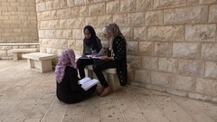 Female students discuss at campus university Ramallah, West Bank Stock Footage