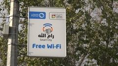 Free wifi spot in Ramallah in the West Bank Stock Footage