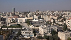 Head office of the Palestinian National Authorities in Ramallah, West Bank Stock Footage