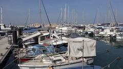 Small marina for leisure boats in Tel Aviv, Israel Stock Footage