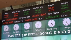 Electronic ticker border in Hebrew language at Tel Aviv Stock Exchange Stock Footage