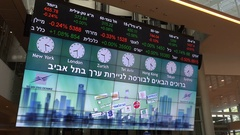 Financial data on display at electronic ticker board Tel Aviv Stock Exchange Stock Footage