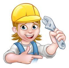 Plumber or Mechanic Woman Holding Spanner Stock Illustration