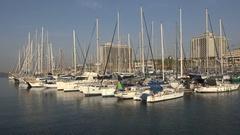 Yachts and sailing boats in marina Tel Aviv city, Israel Stock Footage