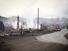 View of the Burned Village and a Fire Engine Stock Footage