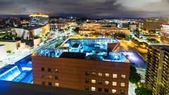 Timelapse of Music Center in Downtown LA at Night -Tilt Up- Stock Footage