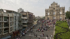 Time lapse of mainland Chinese tourists visiting St Paul's Cathedral Macau Stock Footage