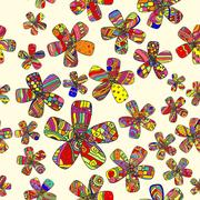 Vector Pattern 60s. Seamless Background Inspired Flower Power. Counterculture Stock Illustration