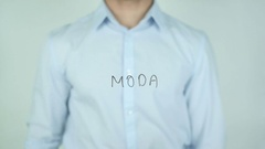 Moda, Fashion writing in Spanish on Glass Stock Footage