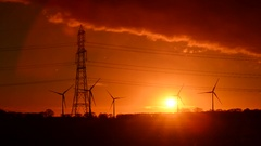Electricity generating windmills near bubwith yorkshire uk Stock Footage