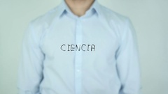 Ciencia, Science writing in Spanish on Glass Stock Footage
