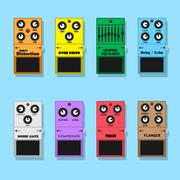 Guitar pedals Stock Illustration