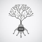 Printed circuit board tree Stock Illustration