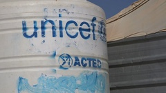 Water tanks in Zaatari refugee camp for Syrians in Jordan Stock Footage