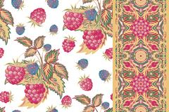 Set of raspberry seamless pattern and border (band). Pastel summer vector Stock Illustration