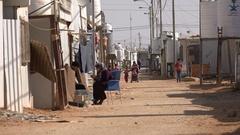 Humanitarian crisis Middle East, Syrian refugees in Zaatari camp Jordan Stock Footage