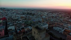 Sunset on a medieval town in the south of Italy. Aerial video. Stock Footage