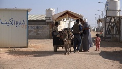 Humanitarian assistance, United Nations refugee camp for Syrians in Jordan Stock Footage