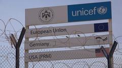 International humanitarian assistance, Unicef Syrian refugee camp in Jordan Stock Footage