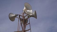 Loudspeakers of mosque in Syrian refugee camp in Jordan Stock Footage