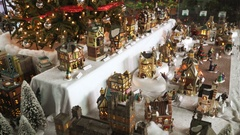 Christmas Toys. Model Village. A Miniature Town During Christmas Holidays Stock Footage