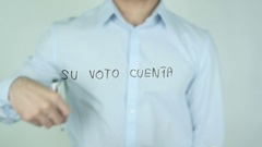 Su Voto Cuenta, Your Vote Counts writing in Spanish on Glass Stock Footage