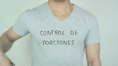 Control de porciones, Portion Control writing in Spanish on Glass Stock Footage