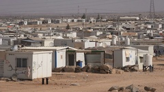 Overview of Syrian refugee camp in Jordan Stock Footage