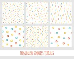 Set of seamless vector free hand multicolored baby doodle textures, dry brush Stock Illustration