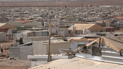 View of temporary homes for Syrian refugees in the Zaatari camp in Jordan Stock Footage