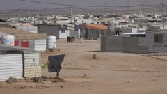 Humanitarian crisis in the Middle East, Syrian war refugee camp in Jordan Stock Footage